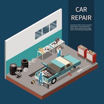 Concept de réparation de voiture avec symboles de réparation de moteur et de démarreur isométrique