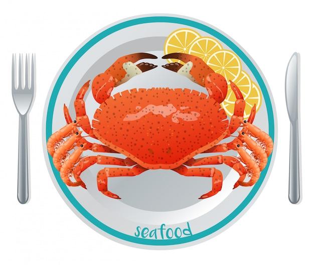 Concept de repas de fruits de mer de dessin animé