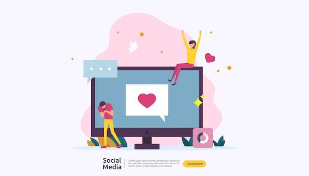 Concept de réseau et d'influence de médias sociaux avec un personnage de jeunes dans un style plat