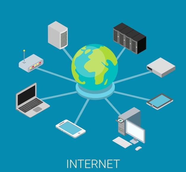 Concept de réseau internet plat isométrique