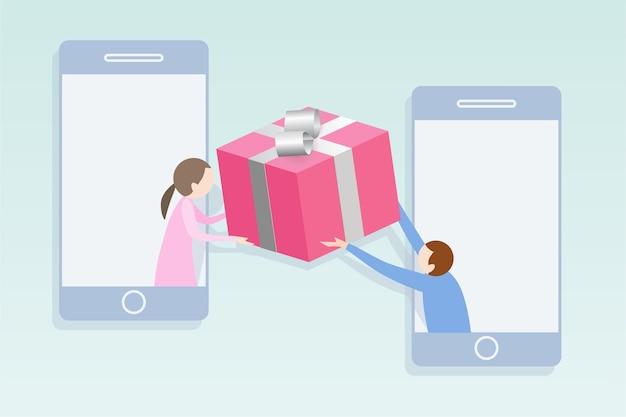 Concept de réseau social design plat moderne. homme donnant un cadeau pour femme