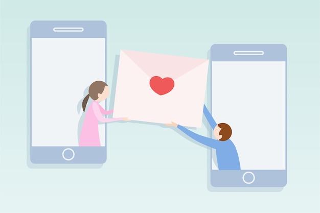 Concept de réseau social design plat moderne. homme donnant son courrier avec coeur pour femme