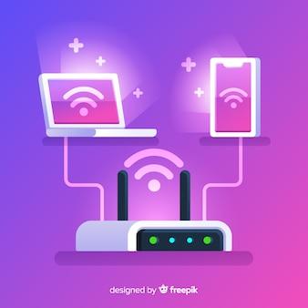 Concept de réseau wifi design plat