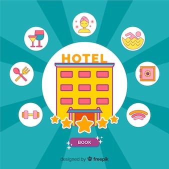 Concept de réservation d'hôtel plat