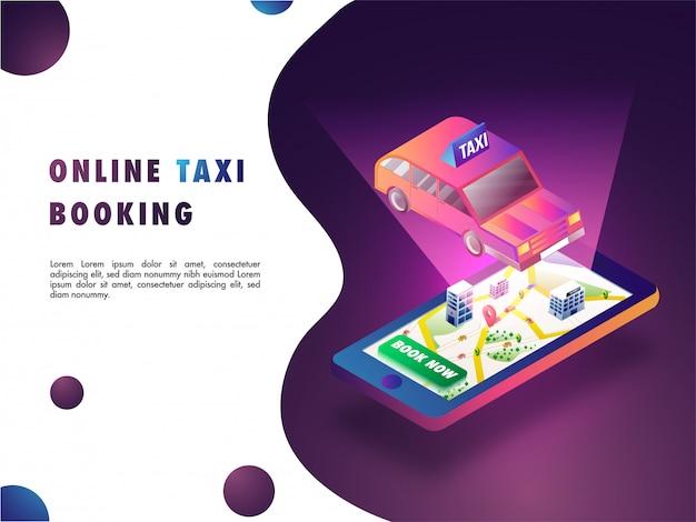 Concept de réservation de taxi en ligne.