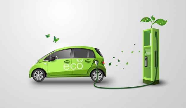 Concept de respect de l'environnement avec voiture écologique. art papier et style artisanal.