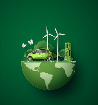 Concept de respect de l'environnement avec voiture écologique.