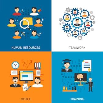 Concept de ressources humaines 4 icônes plates
