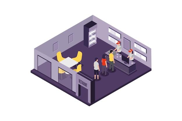 Concept de restaurant isométrique