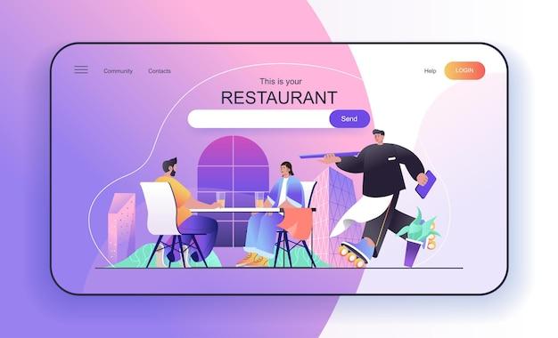 Concept de restaurant pour couple de page de destination au déjeuner dans un café ou une cafétéria ordre d'attente