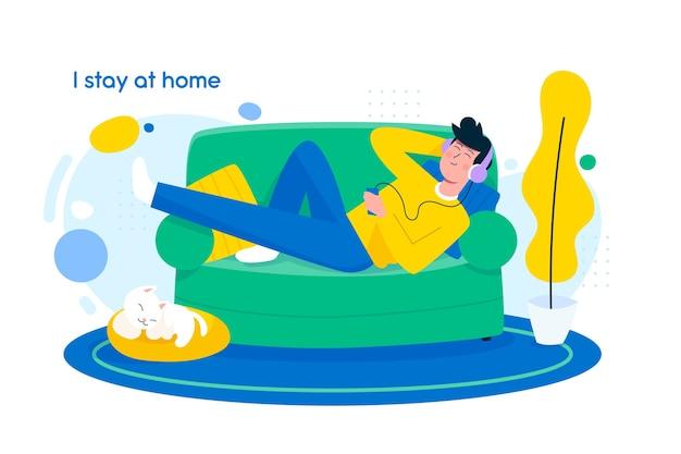 Concept de rester à la maison au design plat