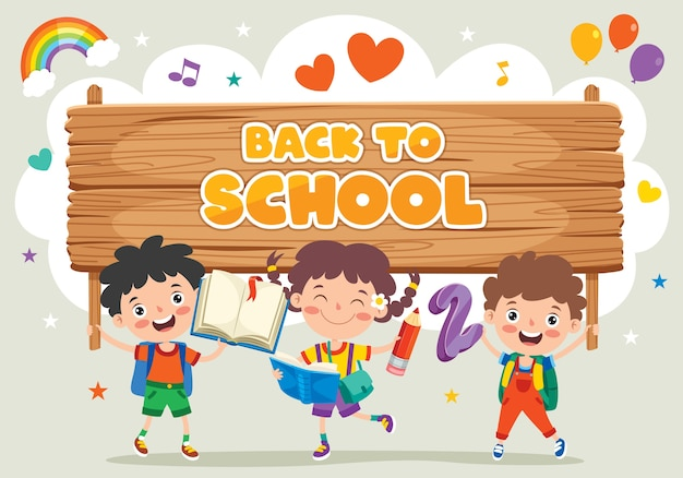 Concept de retour à l'école avec des enfants drôles