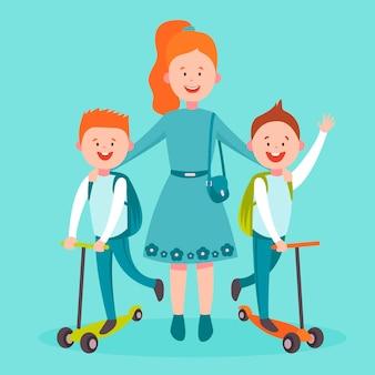 Concept de retour à l'école avec les enfants