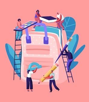 Concept de retour à l'école, les personnages masculins et féminins sur des échelles mettent d'énormes accessoires dans un sac à dos.