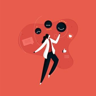 Concept de rétroaction des clients, examen et évaluation