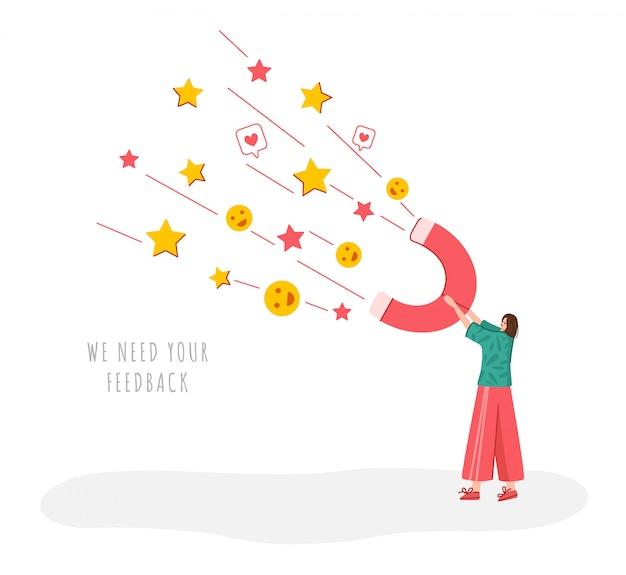 Concept de rétroaction des clients, fille avec aimant géant et avis et rétroaction des clients, service en ligne