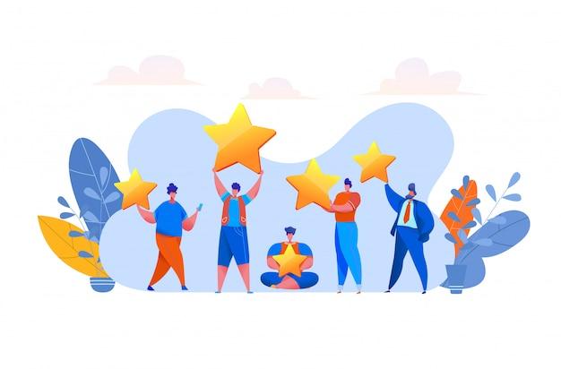 Concept de rétroaction des clients avec des personnes évaluant un produit ou un service assis sur des étoiles, partageant une expérience positive via des messages sur les réseaux sociaux avec des emoji. satisfaction et fidélité des clients.