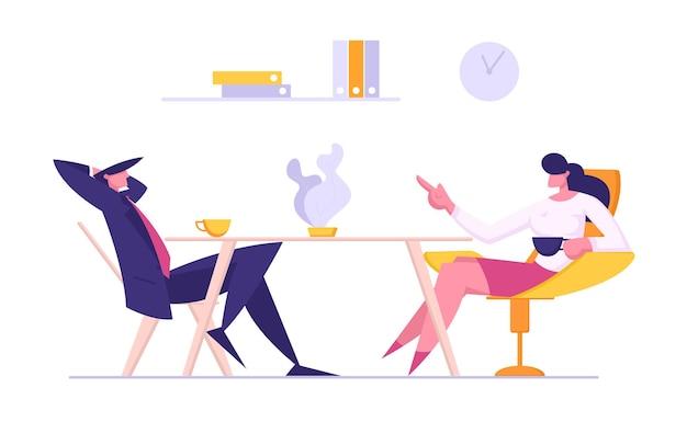 Concept de réunion d'affaires. homme d'affaires et femme parlant sur l'illustration de la pause-café