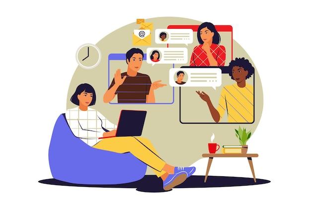 Concept de réunions à distance. vidéoconférence, concept de travail à distance. illustration vectorielle. appartement.