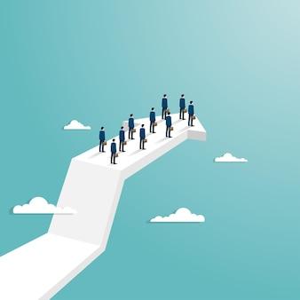 Concept de réussite commerciale. équipe commerciale debout sur la flèche volant vers le succès. carrière de réussite de symbole. les courbes de croissance augmentent les profits et les investissements. vecteur de fond plat