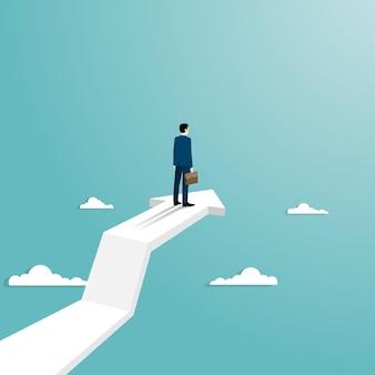 Concept de réussite commerciale. homme d'affaires debout sur la flèche volant vers le succès. carrière de réussite de symbole. les courbes de croissance augmentent les profits et les investissements. vecteur de fond plat