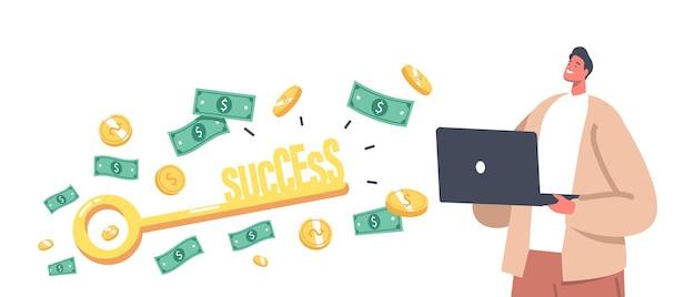 Concept de réussite commerciale. personnage d'homme d'affaires avec ordinateur portable, flux d'argent et clé d'or pour ouvrir la porte d'une grande opportunité, gagner la gloire dans l'avenir, la richesse financière. illustration vectorielle de gens de dessin animé