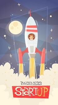 Concept de réussite de démarrage rocket fly sky business man