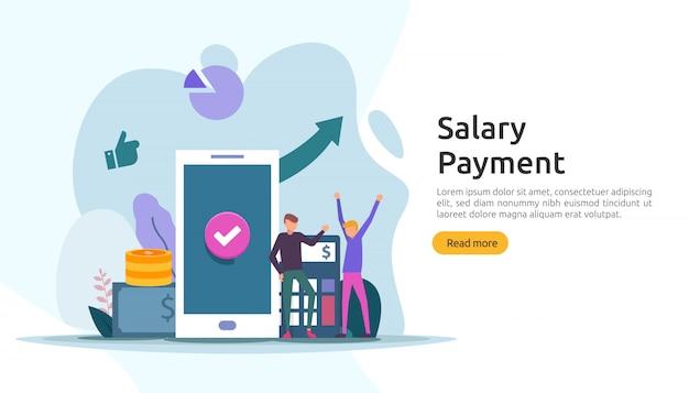 Concept de revenu de paie. paiement annuel du salaire. paiement avec papier, calculatrice et personnage.