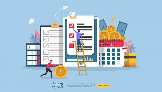 Concept de revenu de paie. paiement du salaire prime annuelle. paiement avec papier, calculatrice et personnage.