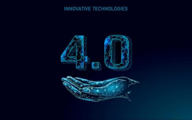 Concept de révolution industrielle future low poly. processus cyber-autonome artificiel de l'industrie 4.0 ai. gestion de l'industrie des technologies en ligne. illustration du système d'innovation polygonale 3d