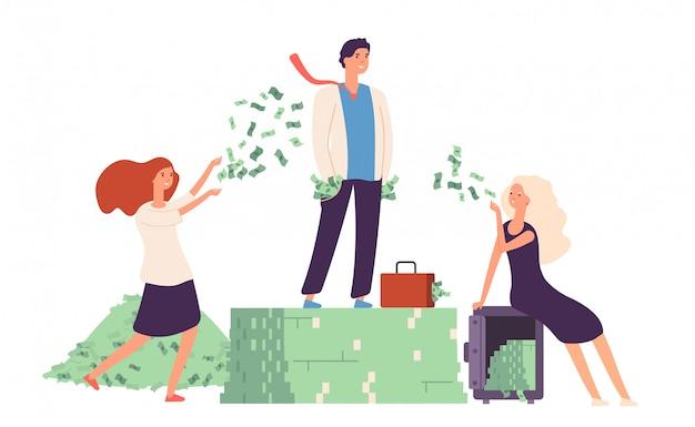 Concept riche. homme d'affaires debout sur la prospérité de la vie coûteuse pile de dollars d'argent.