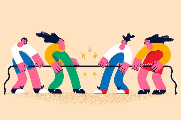 Concept de rivalité, de concours et de défi sportif. groupe de personnages de dessins animés faisant un concours de rivalité se battant avec une corde les uns avec les autres en compétition illustration vectorielle de combat