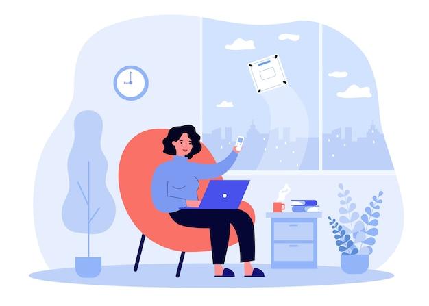 Concept de robot nettoyeur. femme à l'aide de la télécommande, lave-vitre en machine. illustration pour les sujets d'automatisation, d'hygiène, d'aide domestique