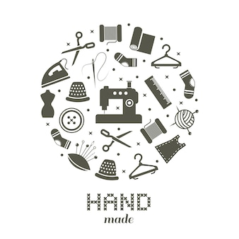 Concept rond fait à la main avec des icônes de couture et de tricot