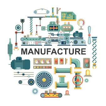 Concept rond industriel plat avec différentes pièces et composants de l'illustration de la bande transporteuse