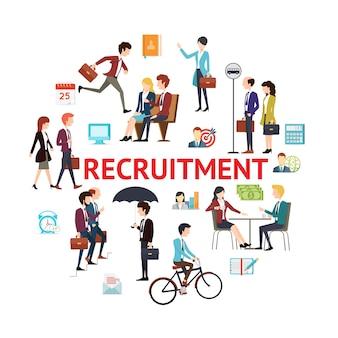 Concept rond de recrutement plat