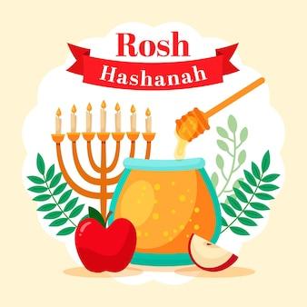 Concept de rosh hashanah plat