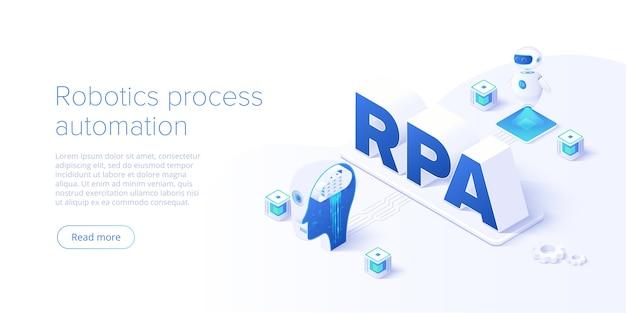 Concept de rpa dans la page de destination isométrique