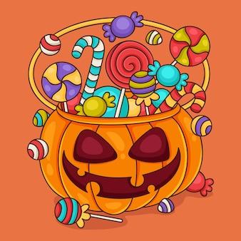 Concept de sac halloween dessiné à la main
