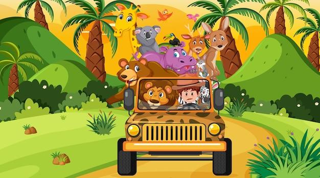 Concept de safari avec des animaux sauvages dans la voiture jeep