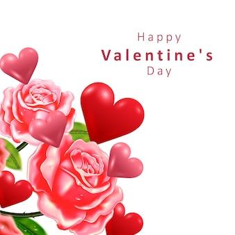 Concept de la saint-valentin. forme de coeur et rose. .