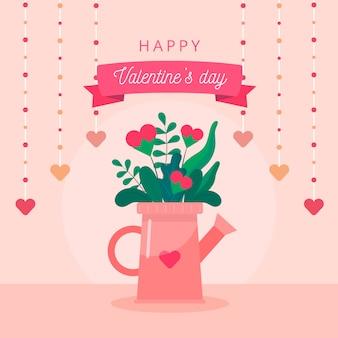 Concept de la saint-valentin. pot de fleur dans l'arrosoir peut former sur fond rose avec de beaux coeurs et texte.