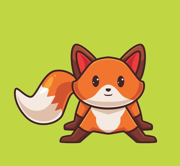 Concept de saison d'automne animal dessin animé mignon renard roux illustration isolée style plat