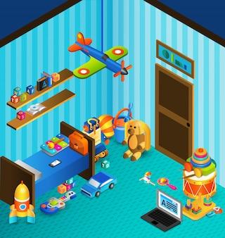 Concept de salle de jeux isométrique