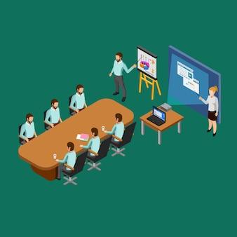 Concept de salle de présentation isométrique