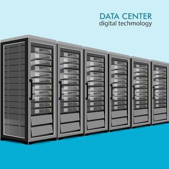 Concept de salle de serveurs, centre de banque de données, illustration plate d'hébergement web.