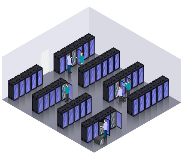 Concept de salle de serveurs d'hébergement de centre de données isométrique