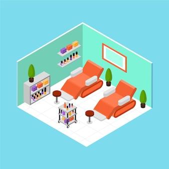Concept de salon de beauté isométrique