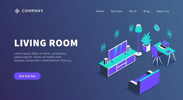 Concept de salon avec divertissement à domicile et canapé pour le modèle de site web ou la page d'accueil d'atterrissage
