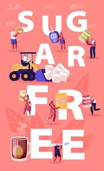 Concept sans sucre. illustration plate de dessin animé